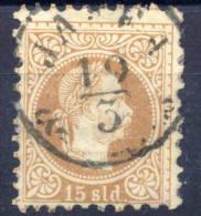 AUSTRIA POST IN LEVANT   1875 Franz Joseph Fine Print 15 Soldi Used.  Michel 5 II - Eastern Austria