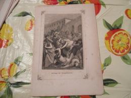 LITOGRAFIA INCISIONE STAMPA S.AMBROGIO PRIMI 900 STRAGE DI TESSALONICA - Litografia