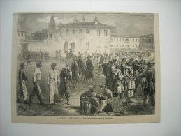 GRAVURE 1864. GUERRE D'AMERIQUE. EXERCICES DE RECRUES DE COULEUR A WASHINGTON. - Stiche & Gravuren