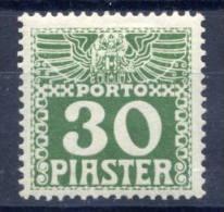AUSTRIA POST IN LEVANT  1908 Postage Due 30 Piaster Deep Green, Chalky Paper LHM / *   Michel Porto 14xb - Eastern Austria