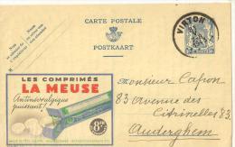 @ CARTE PUB N°2 LES COMPRIMES LA MEUSE  30/05/1943 ENVOYEE DE VIRTON - Virton