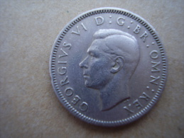 Great Britain 1947 GEORGE VI ONE SHILLING - English Crest USED COIN As Seen. - 1902-1971 : Post-Victorian Coins