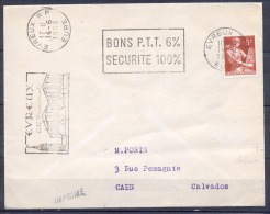 SECAP De EVREUX R.P.  Le 14 6 1958   BONS P.T.T. 6%   SECURITE 100% Pour  CAEN - Marcofilie (Brieven)