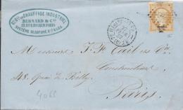LT4066   N°13Abistre Orange/lettre De PARIS, Oblit Losange D, Avec Cachet 1520, Du 22 Févr 1857 - 1849-1876: Periodo Classico