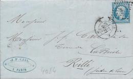 LT4084  N°14/lettre De PARIS, Oblit Losange E, Avec Cachet 1521, Du 27 Oct 1858, Au Dos Cachet Perlé De RILLE - Marcophilie (Lettres)