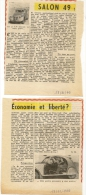 Petit Article Pèlerin   18 10 1949 Salon Auto  La 2CV Citroen - Unclassified