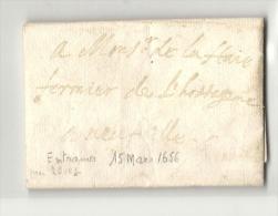 Mayenne - Entrammes Pour Neufville. Lettre Avec Sa Correspondance De 1652. RR - ....-1700: Voorlopers