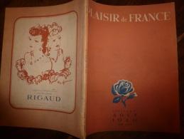 Août 1946 Plaisir De France :Nombr. Illustrations Dont COCTEAU; Photos Pierre Jahan ;Saint-Honorat - Zeitungen