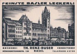 Basel, Das Rathaus, Publicité Basler Leckerli, Th. Renz-Buser (3455) - BS Bâle-Ville