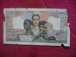 Billet De  5000 Francs  Du 1.02.1945  Empire Français. - 5 000 F 1942-1947 ''Empire Français''