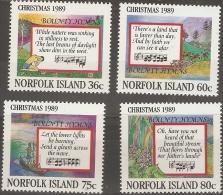NORFOLK ISLAND  - 1989 CHristmas (Hymns & Scenes) Set Of 4  MNH **   SG 470-3  Sc 462-5 - Norfolk Island