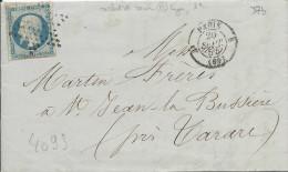 LT4093   N°14A/lettre De PARIS, Oblit étoile Pleine, Avec Cachet 1330, Du 20 Sept 1854 - 1849-1876: Periodo Classico