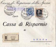 BUSTA POSTALE COMMERCIALE-RACCOMANDATA -CASSA DI RISPARMIO DELLA SPEZIA-22-12-1927 - Non Classés