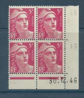 """Coins Datés YT 719A """" Gandon 5F. Rose """"  1946 Neuf** - Coins Datés"""