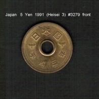 JAPAN    5  YEN  1991  (Akihito 3---Heisei Period)  (Y # 96.2) - Japan
