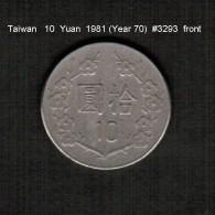 TAIWAN   10  YUAN  1981  (Year 70)  (Y # 553) - Taiwan