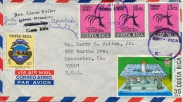 Costa Rica 1970? Cover With Air Mail Stamps 3 X 10 Cent. Cancer Congress + 5 Cent. Arm + 35 Cent. Osaka Expo - Malattie
