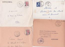 ALGERIE 4 Lettres Cachet REBEVAL TIZI-OUZOU - TIZI RENIFF TIZI OUZOU - KENADSA SAOURA - CLINCHANT ORAN - Covers & Documents