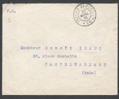 FRANCE - Lettre En Franchise - Trésor Et Postes 20 Du 30 Avril 16 Pour Castelnaudary - Postmark Collection (Covers)