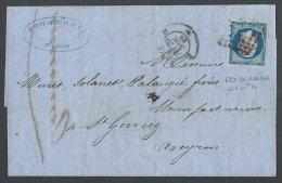 FRANCE - 20 C. Sur Lettre De Paris Pour St Geniez Avec PD En Rouge - 1853-1860 Napoléon III
