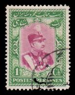 Persia Scott # 744, 1c Yellow Green & Carmine (1929) Reza Shah Pahlavi, Used - Iran