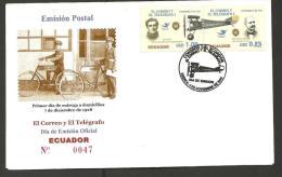 RO) 2005 ECUADOR, PLANE, BICYCLE, ELIA LIUT, JOSE ABEL CASTILLO, FDC, XFC XF - Ungebraucht