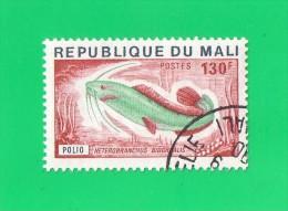 REP. DU MALI ,,, ( POLIO  ) HETEROBRANCHUS,, ** 130 F. **  POSTE  1976 ,,CACHET QUART DE LUNE,,, TBE - Mali (1959-...)
