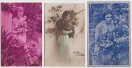 3 OLD POSTCARDS :  ´GELUKKIG NIEUWJAAR´ : Vrouwen Met Bloemen/Planten - Femmes, Fleur  (1920 -???-  Holland/Nederland) - Nieuwjaar