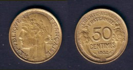 50 CENTIMES MORLON 1932 9 ET 2 OUVERT SANS  RAISIN TB - G. 50 Centimes