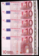 """Greece  """"Y""""  Lot Of Five (5) Consecutive Numbers 10  EURO GEM UNC! Draghi Signature!!  """"Y""""   Printer  N037B5 - EURO"""
