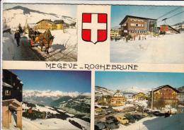 74 - MEGEVE - Rochebrune Et Le Téléphérique - Multi-vues. CPSM - Megève