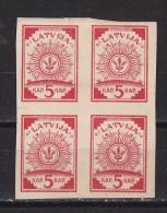 LETTONIE  - N°Y&T - 1 - 5k Rouge Carminé - En Bloc De 4 TP   - Tous N** - Lettonie