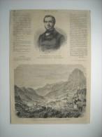 GRAVURE 1864. SUISSE; LA VILLE DE GLARIS, AVEC EXPLICATIF. S. E. M. DROUYN DE L'HUYS, MINISTRE DES AFFAIRES ETRANGERES.. - Prints & Engravings