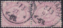 2 Mark Nr. 37 D Waagerechtes Paar Gestempelt Geprüft Wiegand BPP  Michel 180 € - Oblitérés