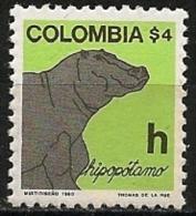 Colombia/Colombie: Ippopotamo, Hippopotame, Hippopotamus - Francobolli
