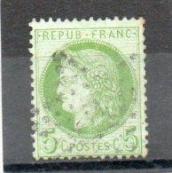 FRANCE   5 C    Année 1872     Y&T: 53    Cérès  IIIe République   Timbre Aminci (oblitéré) - 1871-1875 Cérès