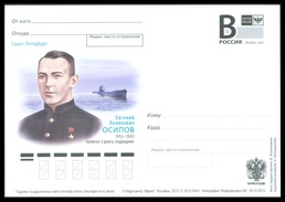 RUSSIA 2013 ENTIER POSTCARD 324/1 Mint OSIPOV NAVY NAVAL SUBMARINE SUBMARINER SOUS-MARIN U BOOT SOVIET HERO USSR - Entiers Postaux