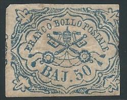 Italian States, Roman States 1852, Scott #10 Mint, Papal Arms, 50b Dull Blue, Mint O.G., Signed - Papal States
