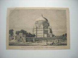 GRAVURE 1864. PAGODE DE ROOKUM-ALUM,  A MOULTAN EN INDE. - Estampas & Grabados