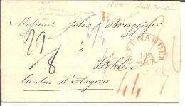 NLC007/ - NIEDERLANDE -  Leeuwarden  Schweiz 1844 Durch Preussisch-badisches Gebiet, Taxiert Und Mit WP Grenzstempel - ...-1852 Vorläufer