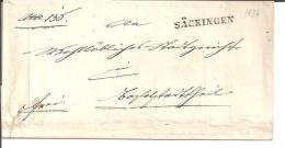 Bad062/  BADEN - Säckingen, Einzeiler In Schwarz 1839 - Duitsland