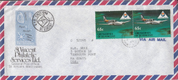 St. Vincent Grenadines Cover To USA Scott #592 (Pair) 65c Aircraft Of Mustique Airways - St.Vincent & Grenadines