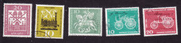 Germany, Scott # 817, 822-823, 840-841, Used, Hildesheim Cathedra, Train, St George, Cars, Issued 1960-61 - BRD