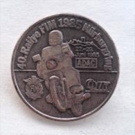 Badge / Pin (Motorcycling) - Germany (Deutschland) Nürburgring Rallye FIM (annual Motorbike Gathering) 1985 - Motorbikes