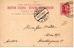 GUYANE BRITANNIQUE ENTIER POSTAL POUR L'AUTRICHE 1909 - British Guiana (...-1966)