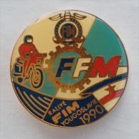 Badge / Pin (Motorcycling) - Yugoslavia Belgrade Rallye FIM (annual Motorbike Gathering) 1990 - Motorbikes