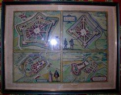 GRAVURE 16 ème - PLANS PANORAMIQUES DES VILLES DE WALCOURT - CHIMAY - PHILIPPEVILLE - MARIEMBOURG - - Estampes & Gravures