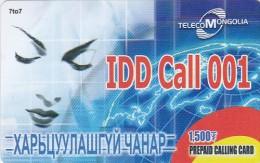 Mongolia, M?, Telcom Mongolia, IDD Call 001, 2 Scans. - Mongolia