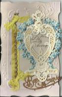 Cpa Decoupis Dentelée Gaufrée Fleurs En Relief Dorée  Bonne Année Nouvel An 22 - Embroidered