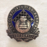Badge / Pin (Chess) - Yugoslavia Dubrovnik 9th Olympiad 1950 - Badges